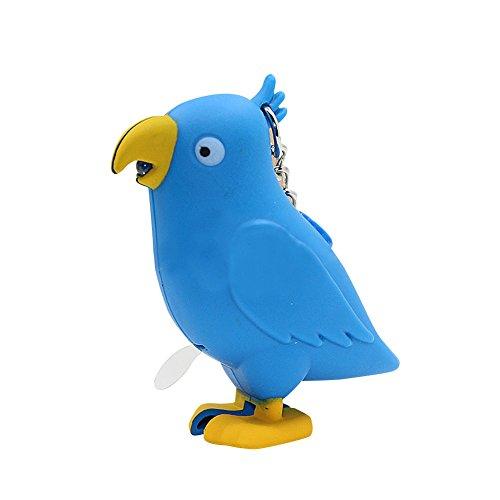(MAJGLGE Schlüsselanhänger mit LED-Licht, Cartoon-Vogel-Motiv, Blau)