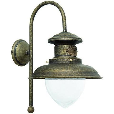 Lámpara aplique de pared latón, acabado pulido estilo Marina navegación interior/exterior 40 cm