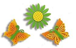 Aayam design and solutions Flower and butterflies fridge magnet (set 0f 3)green flower