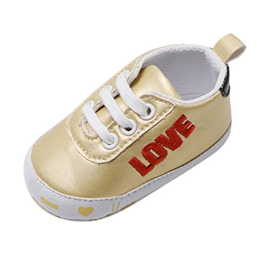 SOMESUN Kleinkind Baby Jungen Mädchen Krippe Schuhe Kinder Fashion Briefe Baumwolle Stoff Weiche Sohle Leder Rutschfest Single Beiläufig Freizeit Segeltuch Turnschuhe (12-18 Monate, Gold) (Kleinkinder Jordan Schuhe Für Mädchen)