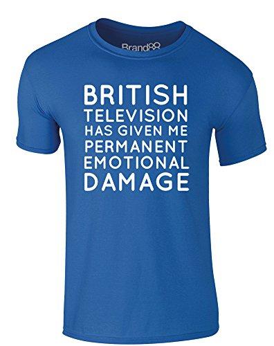Brand88 - Permanent Emotional Damage, Erwachsene Gedrucktes T-Shirt Königsblau/Weiß