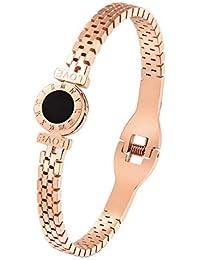 a3d67f0d611a Lnyy Reloj de Acero Chapado en Titanio con Brazalete de Acero Chapado en Oro  Rosa de