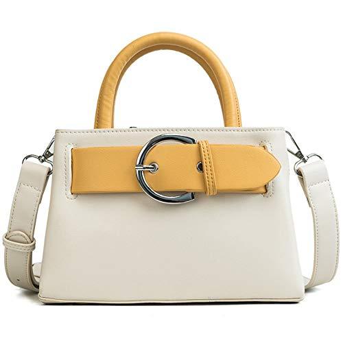MaoDaAiMaoYi Frauen Umhängetasche Mode Griff Casual Tote Pu Leder Handtaschen Retro Geldbörse Mode Living Größe Kapazität Work Package Clutche Tasche (Color : Weiß, Size : One Size)