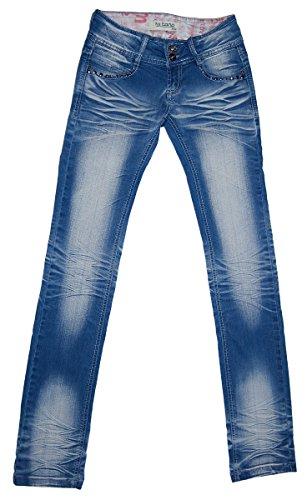 Damen Jeans Blau Ziernähte Jeans Knitter-Look Stretch Hose Ziernähte Waschungen Nieten Hellblau