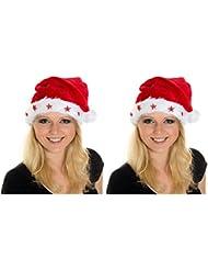 2 er Set Weihnachtsmütze Nikolausmütze Dick Plüsch Fellrand 5 Sterne Blinkend X14