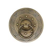 Large Door Knocker,Oriental Decorative Brass Pull Door Handle Chinese Hardware Barn Door Front Door-B diameter18cm(7inch)