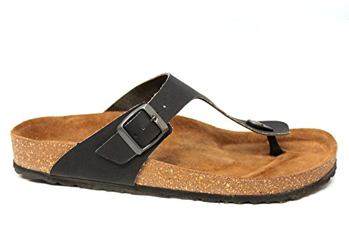 INBLU Homme Toepost Semelle Boucle Plat Summer Beach Sandales Taille UK 6–12 Noir