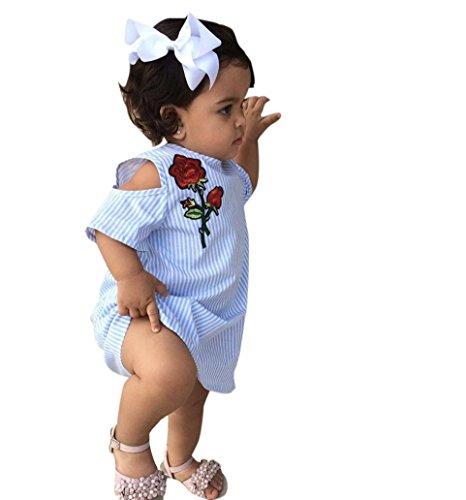 Mädchen Kleider Beikoard Baby Mädchen Kleid Striped Print Floral Kleider Kleidung Outfits Sommerkleid Casual Set Kleider Für Mädchen Hochzeitskleider Für Kinder Mädchen Kleider Festlich (120, Blau) (Jeans-jacke-set)