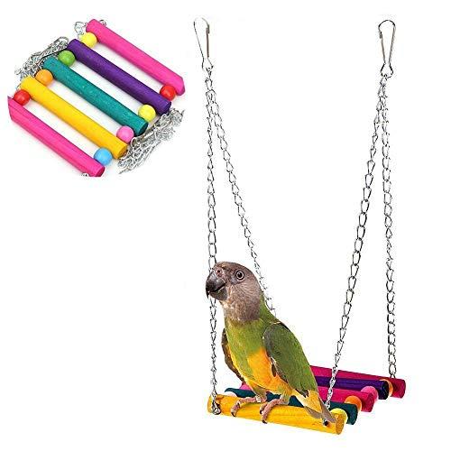 Xiton - Soporte para pájaros (18 cm), Barra giratoria, Escalera para Masticar, Juguete de Colores, Puente de suspensión, Juguetes de Escalada, Accesorios para Jaula de pájaros