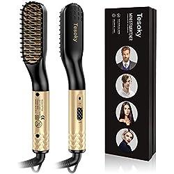 Lisseur Barbe Brosse Lissante Cheveux,Tesoky Rapidement Brosse Chauffante pour Lisseur Barbe Multifonctionnel Lisseur Cheveux Peigne Brosse Barbe Outils pour Homme et Femme (EU & UK)