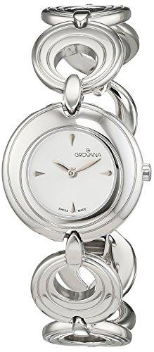 GROVANA 4567,1132 Swiss-Orologio da donna al quarzo con Display analogico e cinturino in acciaio INOX color argento