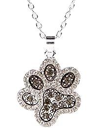 Warmingecom Women Lovely Dog Paw Prints Black White Pendant Rhinestone Silver Necklace