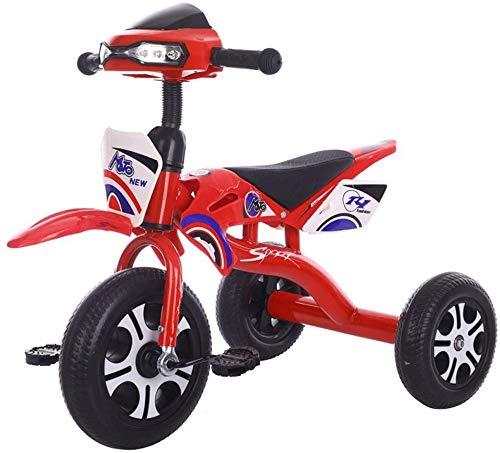 WLD Training Fahrradrahmen Kinderwagen Kinder Auto Baby 3-Wheeler Kleinkind Fahrrad 1-3-2-6 Jahre alt Dreirad mit Musik Beleuchtung 2 Farboptionen Kind Geburtstagsgeschenk,rot