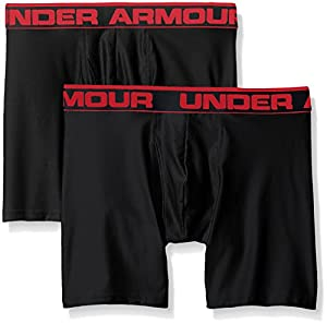 Under Armour O-Series 6In 2Pk Men's Boxer Jock, Black/Black (001), Large