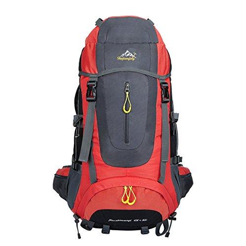 szbtf 70L Rucksack Wasserdicht Outdoor Sport Trekking Camping Pack Bergsteigen Klettern Rucksack mit Regenschutz rosarot