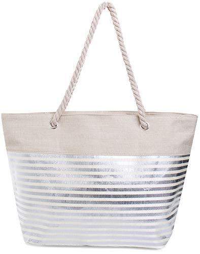 Faera Strandtasche mit glänzendem Streifen oder Leoparden-Muster XXL Shopper Beach Bag mit breiter Kordel Schultertasche, Taschen Farbe:Silber gestreift