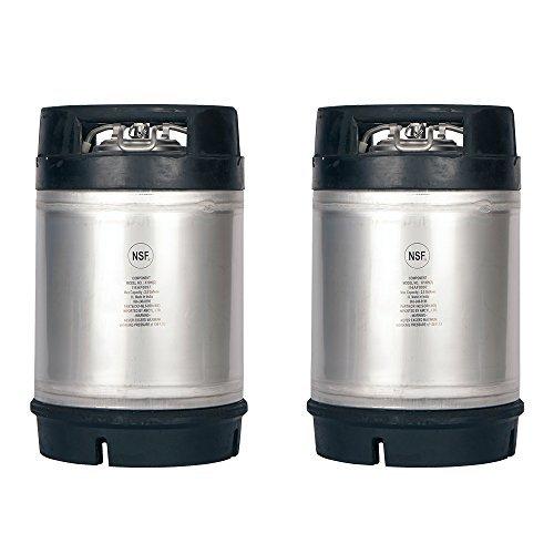 Two New 2.5 Gallon Ball Lock Kegs - Dual Rubber Handles + Free O-Ring Kit by AMCYL (Dual Keg)