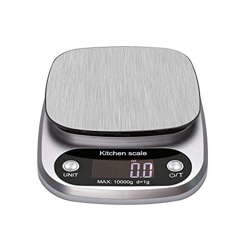 Vovoly Digital Küchenwaage (10kg / 1g), hohe Genauigkeit Elektronische Küchenwaage mit großen hintergrundbeleuchteten Display für Home Cooking Backen, Tara-Funktion