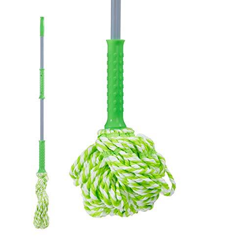 Relaxdays mocio autostrizzante, testa sostituibile, frange in microfibra, con spugna, lava pavimenti, verde/grigio, 126 cm
