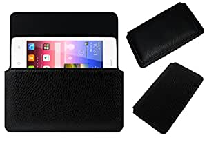 Acm Horizontal Leather Case For Hitech Amaze S3 Mobile Cover Carry Pouch Holder Black