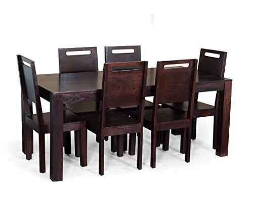 Madera Carol Six Seater Solid Wood Dining Table Set (Mahogany Finish, Brown)