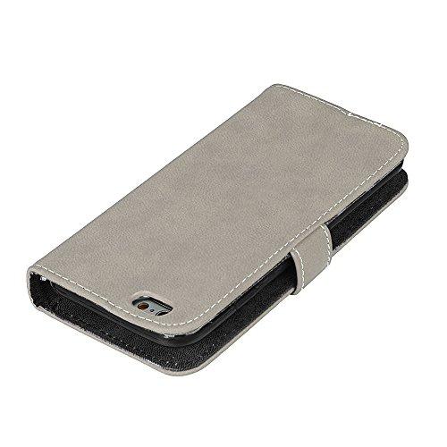 EKINHUI Case Cover Frosted Style Premium PU Leder Geldbörse Hülle Flip Stand Abdeckung Fall mit 9 Card Cash Slot für iPhone 6 & 6s ( Color : Beige ) Gray