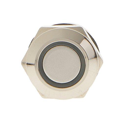 12V 12 mm Interruptor SPST de Botón Pulsador Momentáneo Impermeable de Metal...