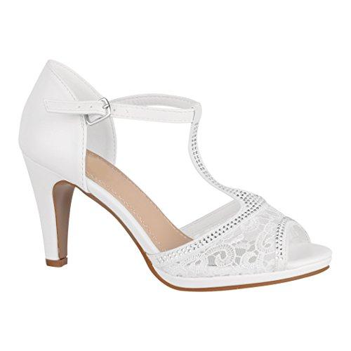 Elara Damen Pumps Peep-Toe | Moderne High Heels | Bequeme Riemchen Stilettos | Chunkyrayan 8001-White-38 (High-heels Peep-toe-pump)