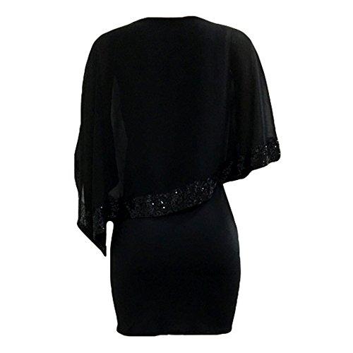 Kleider Damen Paillettenkleid Glitzer Bolero Knie Lang Abendkleid O Ausschnitt Patchwork Arbeit Büro Party Kleid Casual Elegant Juleya - 5