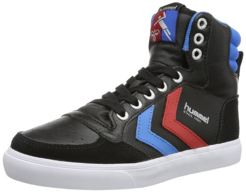 hummel HUMMEL STADIL HIGH, Unisex-Erwachsene Hohe Sneakers, Schwarz (Black/Blue/Red/Gum), 36 EU (3.5 Erwachsene UK) (Retro High-top)