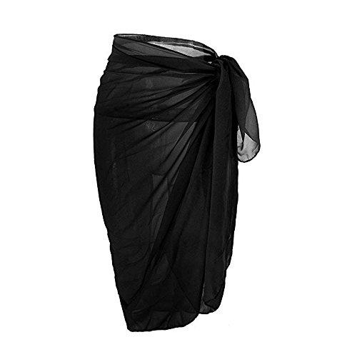 NINGSANJINˇ Frauen Strand vertuschen Chiffon Rock Bikini Bademode Coverup Wrap Rock Badeanzug (Schwarz) (Badeanzug Vertuschen, Rock)