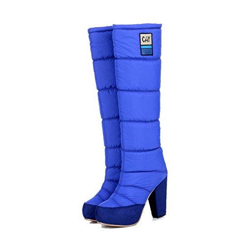 VogueZone009 Damen Hoch-Spitze Ziehen Auf Hoher Absatz Rund Zehe Stiefel Blau