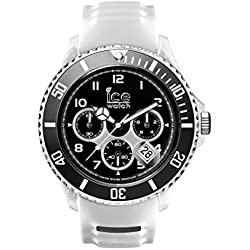 Ice Watch Ice Sporty Chrono White and Black Men's Quartz Analogue Watch with White Dial and White Silicone Bracelet SR.CH.WBK.BB.S.15