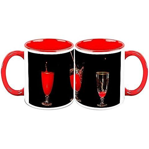 HomeSoGood Red Mock-tail Drinks White Taza de cafe de ceramica - 11 Oz (Set Of 2)