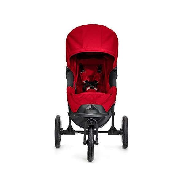 Baby Jogger City Elite Single Stroller Red  Lift one strap and the City Elite folds itself: Simply and compactly, it really is as easy as it sounds and the auto-lock will lock the pushchair for transportation or storage The City Elite offers an array of storage, including a built-in parent console that keeps your most used items at your fingertips, an adjustable handlebar and a hand-operated parking brake keeps all the controls within reach Suitable from birth, the seat reclines to a near flat position with vents and a retractable weather cover plus SPF 50+ hood throws a lot of shade on a sunny day and has a peek-a-boo window with magnetic closure so you can quietly check on your little one 10