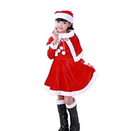 XL- Weihnachtskostüm Santa der Frauen + Schal + Hut + Stiefel 4pcs Outfit Kleidung (Farbe : Suitable for 100-110cm)