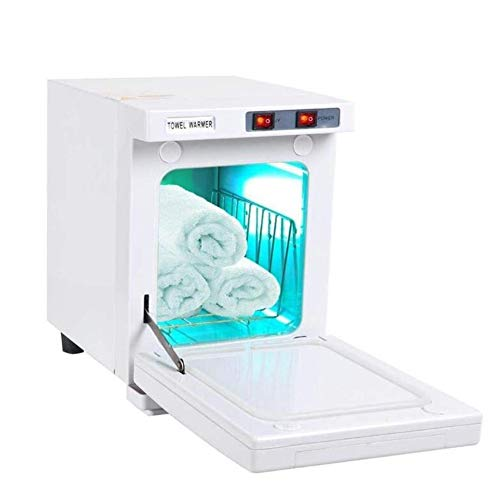 2 en 1 Caliente Esterilizador de Toalla 5L UV Toalla Calentador Esterilizador Gabinete SPA Herramienta Cabello Belleza Salón Casa Desinfectante Esterilizador Equipo, White
