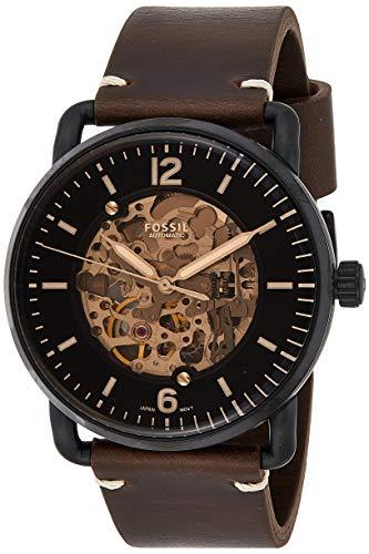 Fossil Herren Analog Automatik Uhr mit Leder Armband ME3158
