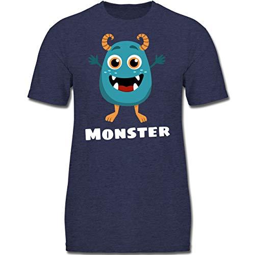 Partner-Look Familie Kind - Monster Partner-Look Kind - 104 (3-4 Jahre) - Dunkelblau Meliert - F130K - Jungen Kinder T-Shirt