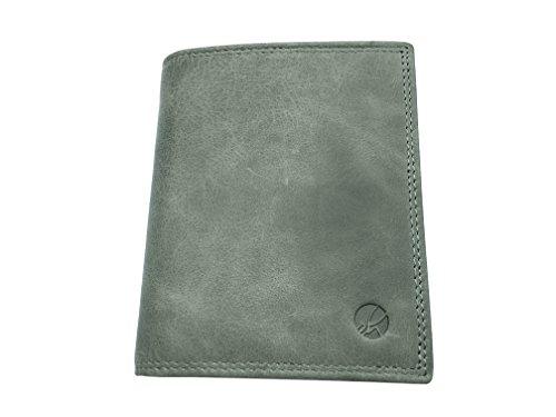 EDELHAUT Geldbörse ohne Münzfach aus echtem Leder in schwarz grau
