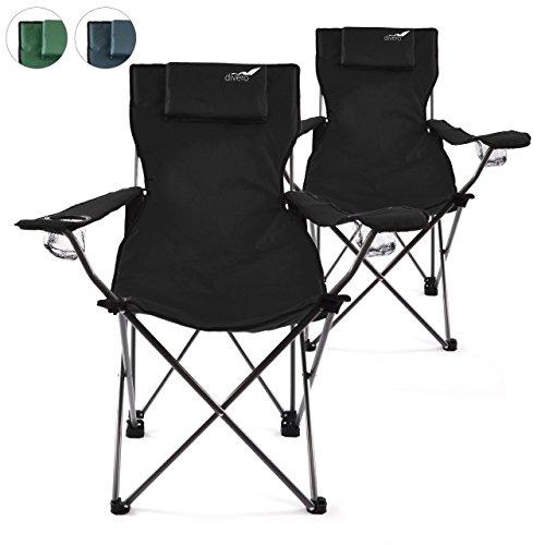 Divero 2er Set Camping Stuhl Faltstuhl Angelstuhl schwarz Kopfkissen Getränkehalter robust bis 130 kg 600D Oxford Stahlrohr (Farbe wählbar)