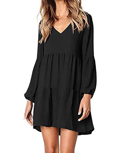 kenoce Damen Kleid Langarm V-Ausschnitt A-Linie Kurze Mini Kleider Lose Swing T-Shirt Kleid Blusen Tunika Schwarz 2XL (Kleid Frauen Langarm Für Shirt)