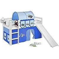 Preisvergleich für Lilokids JELLE3054KWR-TRECKER-BLAU Spielbett JELLE mit Rutsche und Vorhang, Kinderbett, Holz, weiß, 208 x 98 x 113 cm