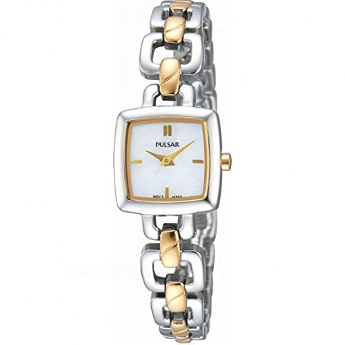 Pulsar Womens' Two Tone Square Link Bracelet PEGG61X1