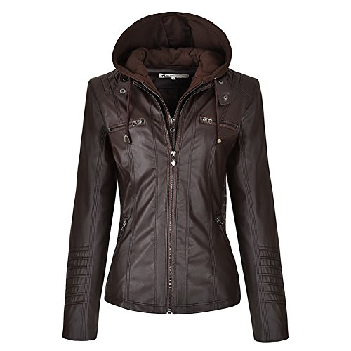 Blivener Womens Classic Faux Leder Kapuzenjacken Zip Up Outwear Khaki XS
