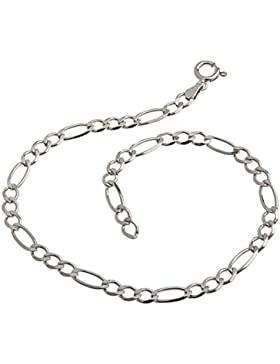Fußkette Silber (Figarokette) - 4,5mm Breite, Länge wählbar 23cm-30cm - echt 925 Silber