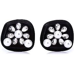 Pendientes Negros con Perlas y Diamantes