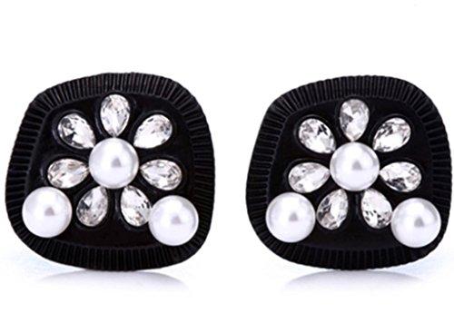 Ohrringe, Audrey Hepburn Breakfast at Tiffany 's, schwarz mit Perlen, Strass (Replik Ohrringe)