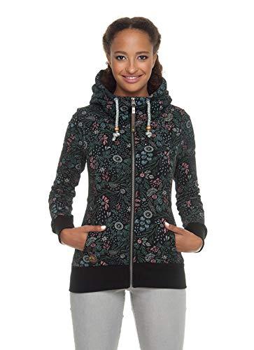 Ragwear Liberty Organic Damen,Sweatjacke,Zip Hoodie mit Kapuze und Reißverschluss,vegan,Zwei Taschen,Black,S