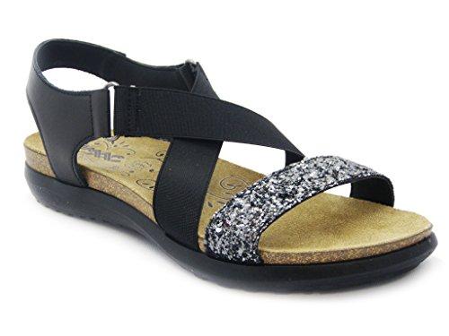 Sandalo Imac in pelle e glitter, con plantare anatomico 3cm. e sottopiede in pelle, suola in gomma flessibile antiscivolo, estivo-53092